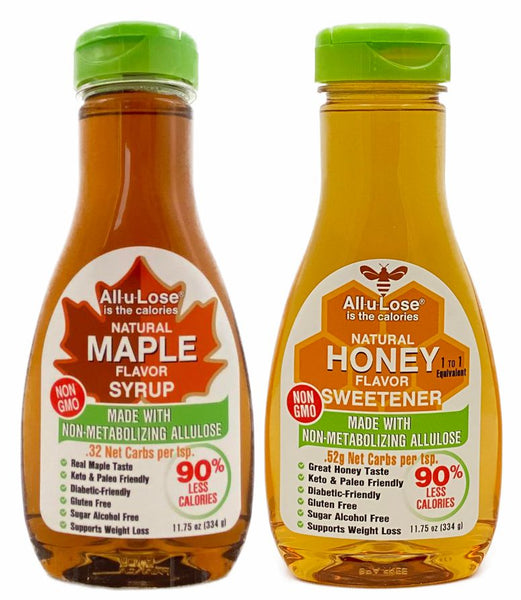 Maple & Honey (Mixed Pack 1 ea 11.75 oz). All-u-Lose Natural Rare Sugar Sweeteners, Non-GMO Allulose, Honey made with Non-GMO Allulose and Monkfruit