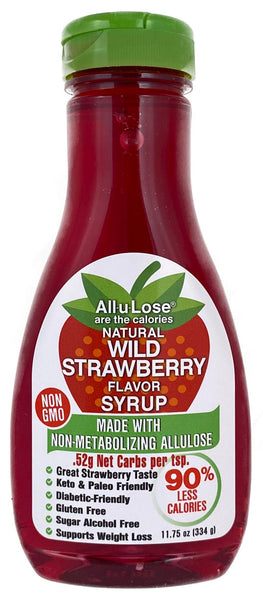 Natural Wild Strawberry flavored Non-GMO All-u-Lose Syrup - 11.75oz Bottle