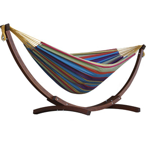 Double Cotton Hammock with Solid Pine Stand