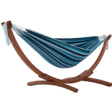 Load image into Gallery viewer, Double Cotton Hammock with Solid Pine Stand