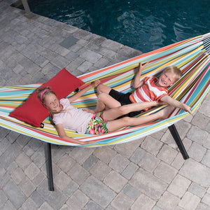 Double Polyester Hammock with Stand Combo