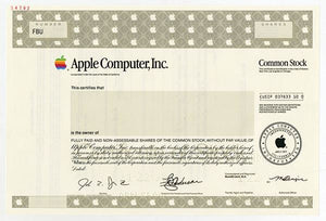 Apple Computer, Inc. Specimen Stock Certificate - 1998 - Wall Street Treasures