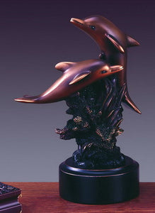"6.5"" Two Swimming Dolphins Statue - Wall Street Treasures"