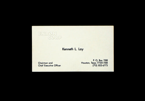 Enron Corp. Kenneth L. Lay Business Card - Chairman and CEO - Wall Street Treasures