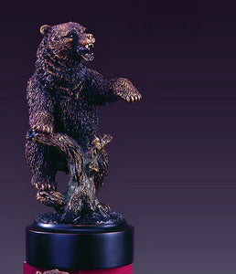 "7"" Bear Standing on Tree and Showing its Paw Statue - Wall Street Treasures"