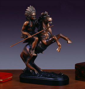 "10.5"" Indian Chief on Horse Statue - Wall Street Treasures"