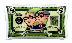 Berkshire Hathaway Glass Plate by Peggy Karr - Warren Buffett and Charlie Munger - Wall Street Treasures