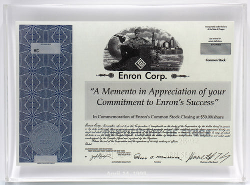 Enron Lucite Miniature Stock Certificate Award - 1998 - Wall Street Treasures
