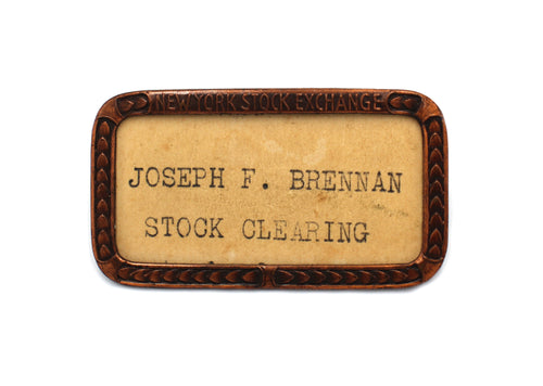 New York Stock Exchange Name Badge - Vintage - Wall Street Treasures