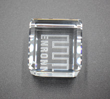 "Load image into Gallery viewer, Enron Crystal Paperweight that can ""Stand on its Edge"" - 1.5"" - Wall Street Treasures"