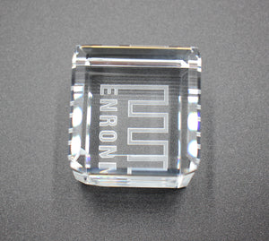 "Enron Crystal Paperweight that can ""Stand on its Edge"" - 1.5"" - Wall Street Treasures"