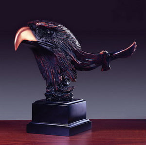 "12"" Eagle Head with Flying Eagle Statue - Wall Street Treasures"