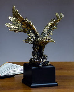 "Gold Flying Eagle Statue - 2 Sizes - 11.5"", 19.5"" - Wall Street Treasures"