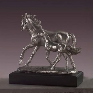 "9.5"" Silver Mare with Foal Horse Statue - Wall Street Treasures"