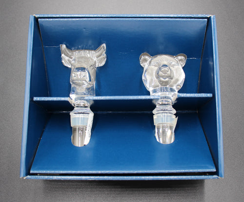 Mikasa Bull and Bear Crystal Wine Bottle Stoppers - Wall Street Treasures