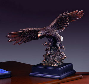 "12"" Eagle Flying over Waves Statue - Wall Street Treasures"