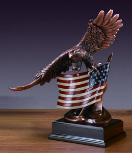 "15.5"" Eagle with American Flag Statue - Wall Street Treasures"