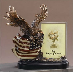 "10"" Eagle with American Flag Statue - Picture Frame - Wall Street Treasures"