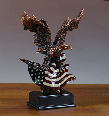 Eagle with American Flag Statue - 3 Sizes - 10