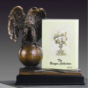 "8"" Eagle on Globe Statue with Picture Frame - Wall Street Treasures"