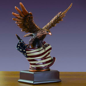 "Eagle with American Flag Statue - 2 Sizes - 10"" & 15.5"" - Wall Street Treasures"