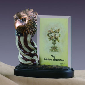 "7.5"" Eagle Head with American Flag Statue - Picture Frame - Wall Street Treasures"