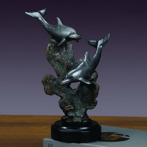 "12.5"" Two Swimming Dolphins Statue - Wall Street Treasures"