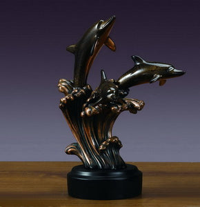 "12.5"" Three Playing Dolphins Statue - Wall Street Treasures"