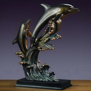 "23.5"" Large Two Jumping Dolphins Statue - Wall Street Treasures"