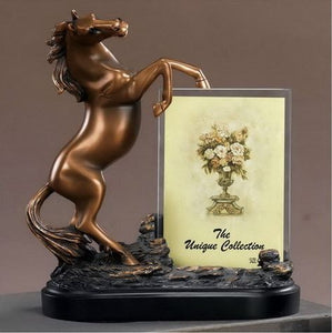"9.5"" Horse Statue with Picture Frame - Wall Street Treasures"