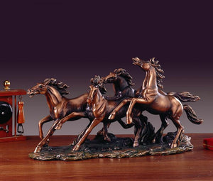 "17.5"" Four Running Horses Statue - Wall Street Treasures"