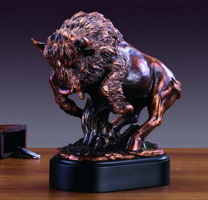 "12.5"" Charging Buffalo Statue - Wall Street Treasures"