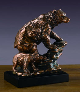"9.5"" Bear with Cub Statue - Wall Street Treasures"