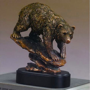 "9.5"" Bear on Rock Statue - Wall Street Treasures"