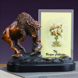 "8"" Buffalo Statue with Picture Frame - Wall Street Treasures"