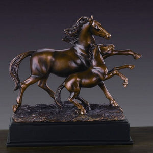 "10"" Mare with Foal Horse Statue - Wall Street Treasures"