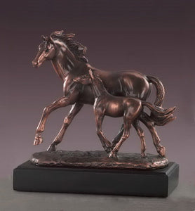 "9.5"" Mare with Foal Horse Statue - Wall Street Treasures"