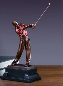 "Driving Golf Trophy - Bronzed Statue - 3 Sizes - 10"", 12"", 14"" - Wall Street Treasures"