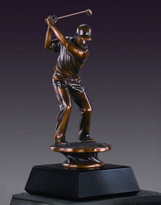"Male Golf Trophy - Bronzed Statue - 3 Sizes - 10"", 13"", 16"" - Wall Street Treasures"