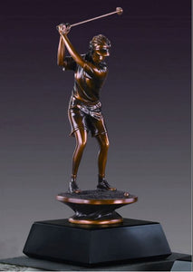 "Female Golf Trophy - Bronzed Statue - 3 Sizes - 10"", 13"", 16"" - Wall Street Treasures"