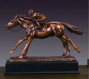 "13"" Jockey Racing on Horse Statue - Wall Street Treasures"