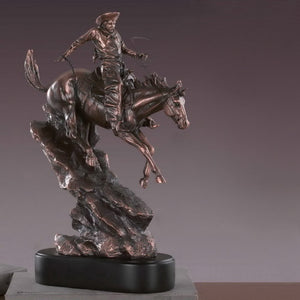 "17"" Large Western Cowboy on Horse Statue - Wall Street Treasures"