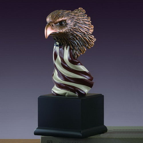 Eagle Head with American Flag Statue - 3 Sizes - 7.5