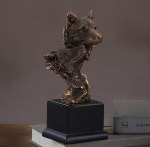 "10"" Double Wolf Head Statue - Wall Street Treasures"
