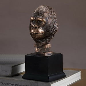 "9"" Gorilla Head Statue - Wall Street Treasures"