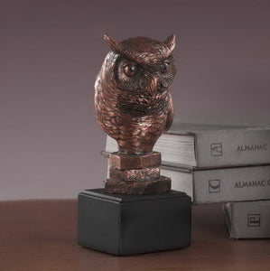 "8"" Owl Head Statue - Wall Street Treasures"
