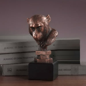 "7.5"" Monkey Head Statue - Wall Street Treasures"