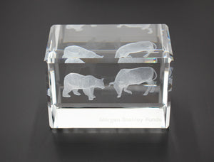 Morgan Stanley Crystal Bull and Bear Paperweight - Wall Street Treasures
