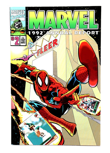 1992 Marvel Comics Annual Report with Uncut Trading Cards - Spider-Man - Wall Street Treasures