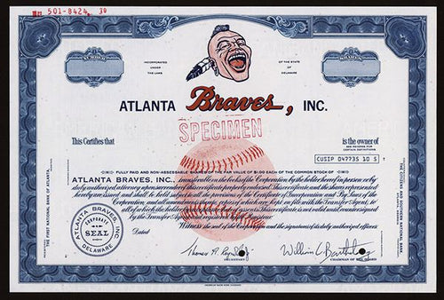 Atlanta Braves, Inc. Specimen Baseball Stock Certificate - 1960 -70's - Wall Street Treasures
